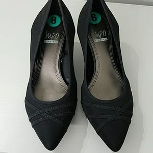 Stretch Black Kitten Heels